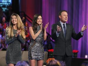 Bachelor host Chris Harrison with Bachelorettes Britt Nilsson and Kaitlyn Bristowe. Source: Getty Images